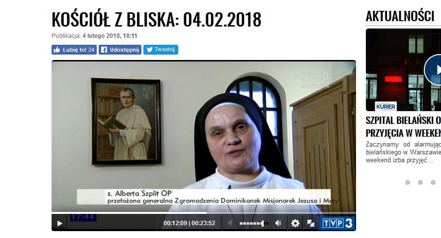 "Program ""Kościół z bliska"" na antenie TVP.INFO z dnia 04.02.2018 – o naszym życiu zakonnym"