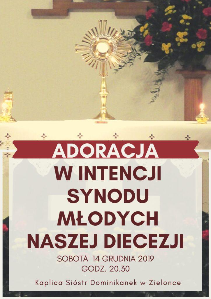 Zaproszenie na adorację w intencji Synodu młodzieży